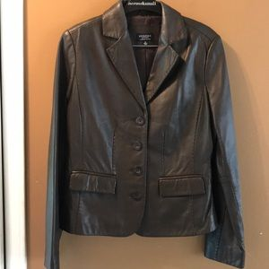 Beautiful chocolate color leather jacket